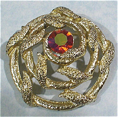 Unmarked Pin With Orange Ab Center Rhinestone