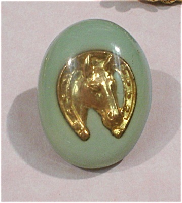 Unmarked Horsehead In Lucite Clutch Back Pin