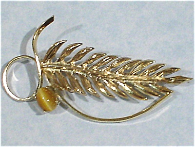 Wells Sterling Silver Pin With Tiger Eye Stone
