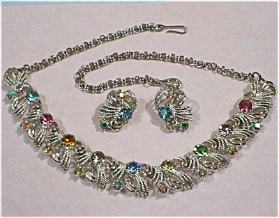 Coro Multi Colored Rhinestone Necklace & Earring Set