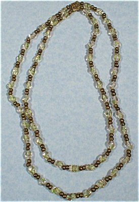 Double Strand Glass And Golden Bead Necklace
