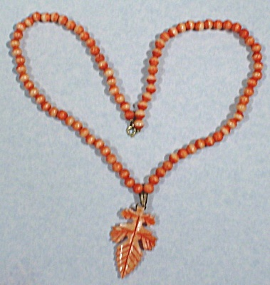 Carved Bone Bead and Leaf Necklace (Image1)