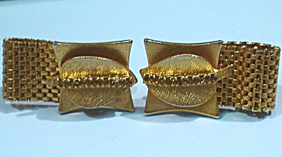 Unsigned Cufflinks, Rhinestone Leaf