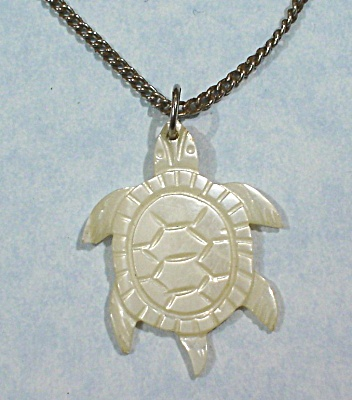 Carved Mother Of Pearl Turtle Necklace