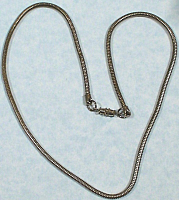 Unmarked Rat Tail Silvertone Necklace