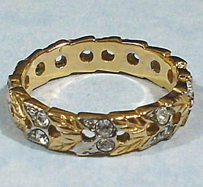 Beautiful Two Tone Ring with Rhinestones (Image1)