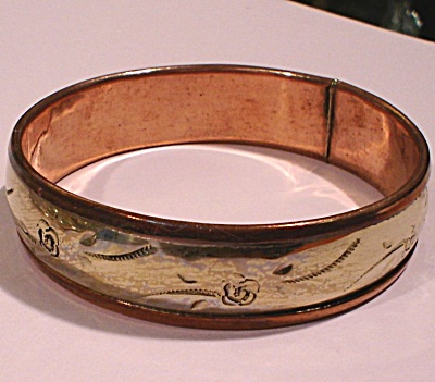 Unmarked Copper and Silver Bangle Bracelet (Image1)