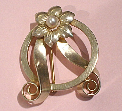 Sterling Silver and Faux Pearl Pin (Image1)