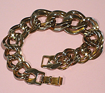 Unsigned Two Tone Link Bracelet (Image1)