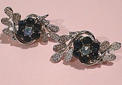 Coro Blue Rhinestone Flower Clip Earrings (Image1)