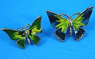 Unsigned Enamel Butterfly Pin Pair (Image1)