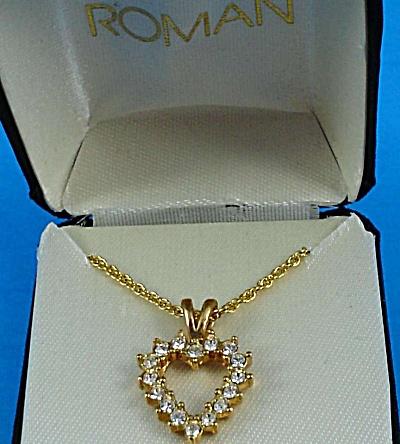 Roman Heart Shaped Rhinestone Necklace (Image1)