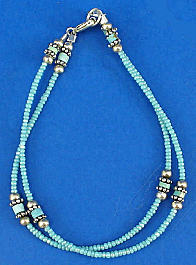 Blue Beaded and Sterling Silver Bracelet (Image1)