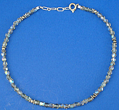Aurora Borealis Crystal and Sterling Bead Anklet (Image1)
