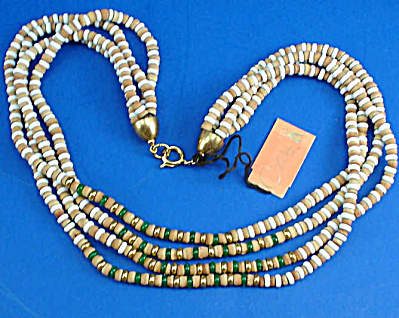 Castlecliff 4 Strand Earthtone/Green Necklace (Image1)