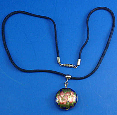 Cloisonne Flower Pendant on Cord Necklace (Image1)