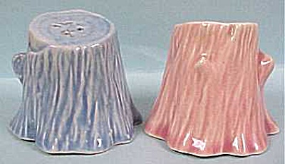 1950s Pastel Pottery Tree Stump S/p Shakers