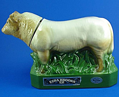 Erza Brooks Heritage China Charolais Bull Decanter