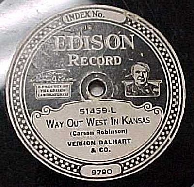 Edison Record #51459: 'Prisoners Song' 'West in Kansas' (Image1)