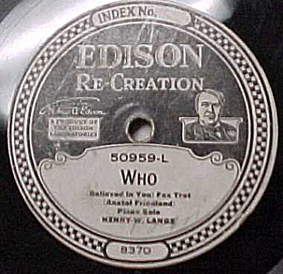 Edison Record #50959: 'Who' and 'Swaying' (Image1)