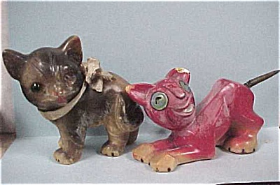 Early 1900s German Wax Cat Pair (Image1)