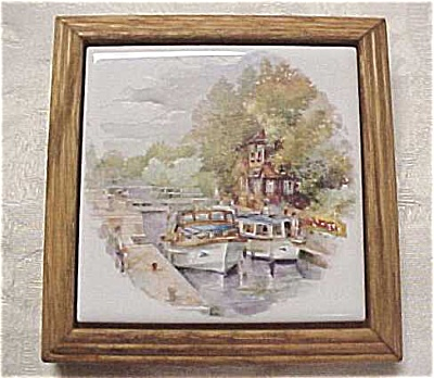 Japan Tile in Oak Frame, Harbor Scene (Image1)