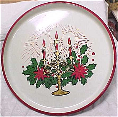 Two 1960s Sturdy Plastic Christmas Trays