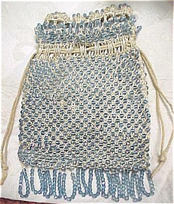 Blue Glass Beaded Drawstring Purse (Image1)