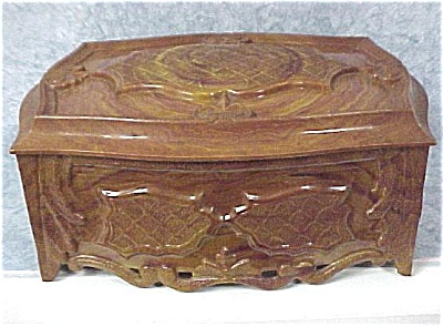 1940s Brown & Yellow Marbleized Plastic Box (Image1)