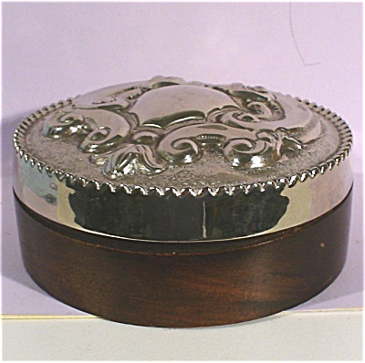 Wood And Silverplate Trinket Box