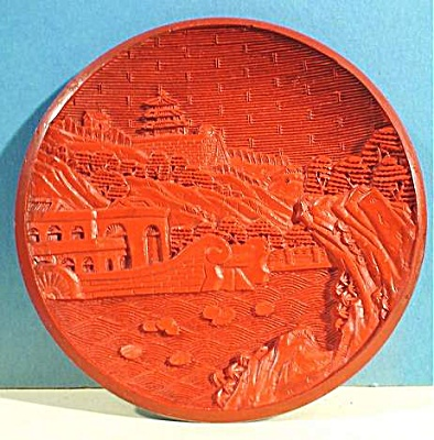 Carved Lacquer Cinnabar Plate (Image1)