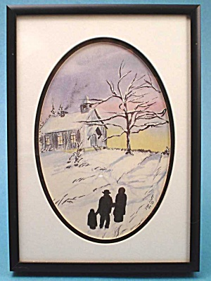 1990 Jan Hoff Silhouette on Snow Scene Print (Image1)
