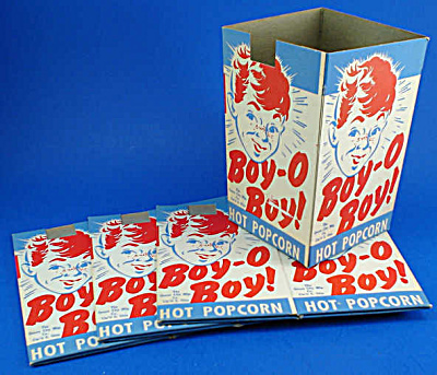 Four 1940s/1950s Cardboard Popcorn Boxes (Image1)