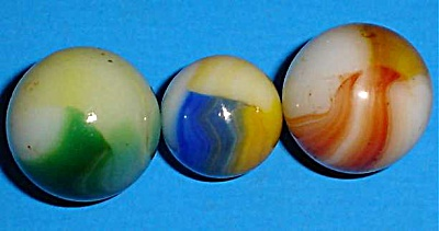 Three Akro Agate Patch Marbles (Image1)