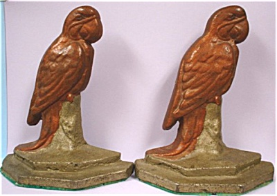Cast Metal Parrot Bookends