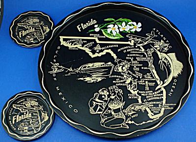 Florida Souvenir Metal Tray and Coaster Set (Image1)