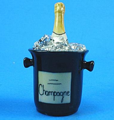 K741 Porcelain Miniature Champagne Bottle in Ice Bucket (Image1)