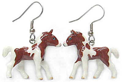Je006 Pinto Foal Earrings