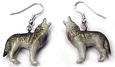 Je016 Howling Wolf Earrings