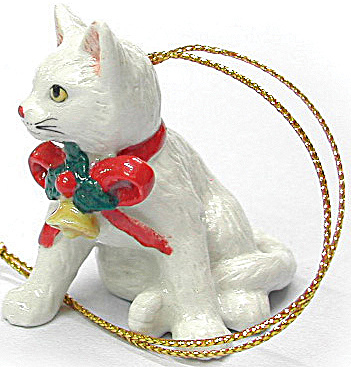 R258 White Cat With Red Bow Ornament