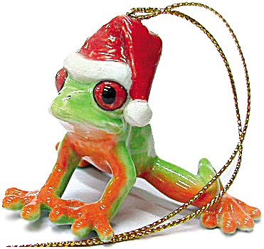 R259 Tree Frog With Santa Hat Ornament