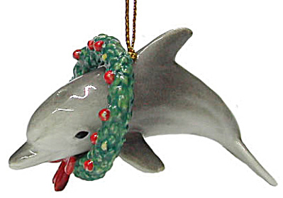 R272 Dolphin With Christmas Wreath Ornament