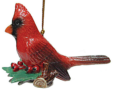 R269 Cardinal With Holly Ornament