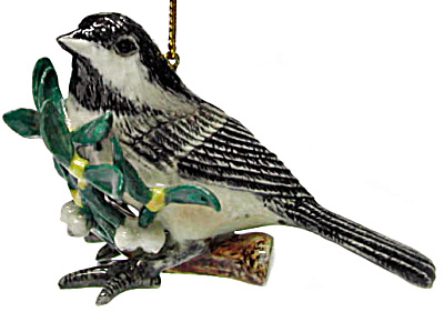 R270r Chickadee With Mistletoe Ornament