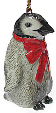 R257 Penguin With Red Bow Ornament