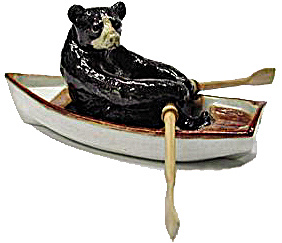 R107r Black Bear In A Rowboat