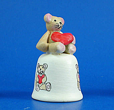Hand Painted Ceramic Thimble - Bear With Heart