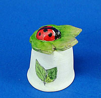 Hand Painted Ceramic Thimble - Ladybug on Leaf (Image1)