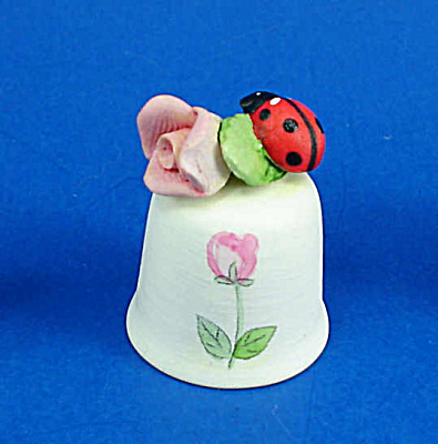 Hand Painted Ceramic Thimble - Ladybug On Rose