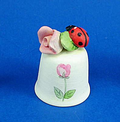 Hand Painted Ceramic Thimble - Ladybug on Rose (Image1)